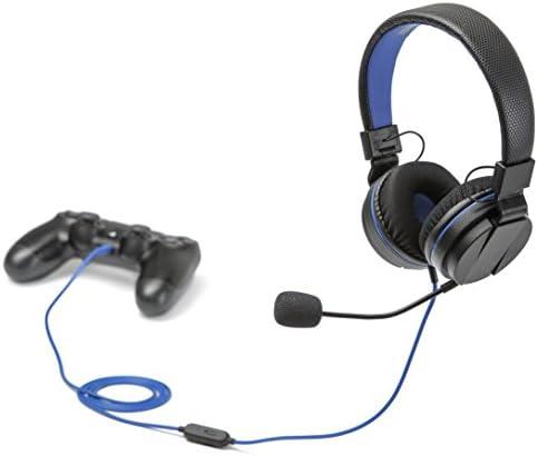 snakebyte PS4 HEAD:SET 4 – Playstation 4 Stereo Headset mit Mikrofon zur Verwendung mit allen Konsolen und Geräten mit 3,5mm Audioanchluß, auch für VOIP, Telefonkonferenz, Videotelefonie - 1,2m Kabel