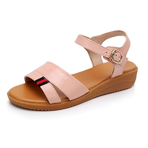 Base Feet Summer Soft Fat Sandalias Flip Open Femeninas Student Flat Simple Toe Casuales Pink Sandalias Flop Zapatos Cuero q0zE8Rq