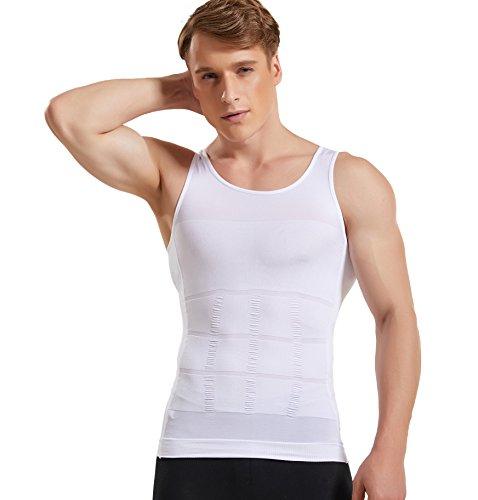 Hanerdun Mens Slimming Body Shaper Vests Undershirt Abs Abdomen Slim, White, Large by HANERDUN (Image #1)