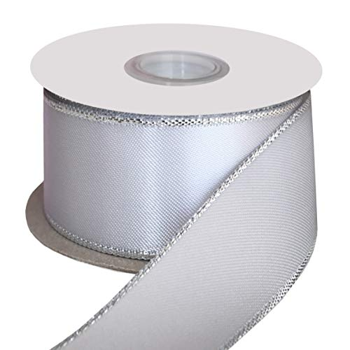 DUOQU 1-1/2 inch Wide Double Face Silver Metallic-Edge Satin Ribbon 20 Yards Roll Shell Grey