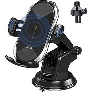 車載Qi ワイヤレス充電車載ホルダー 10W/7.5W 急速ワイヤレス充電器 車ホルダー自動開閉 360度回転