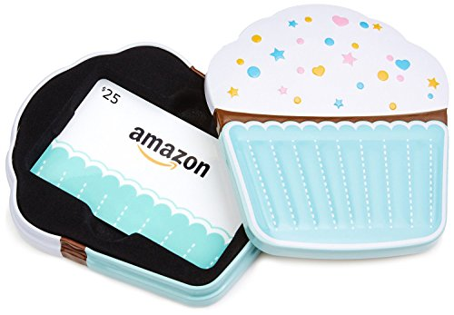Amazon.com $25 Gift Card in a Birthday Cupcake Tin (Birthday Cupcake Card Design)