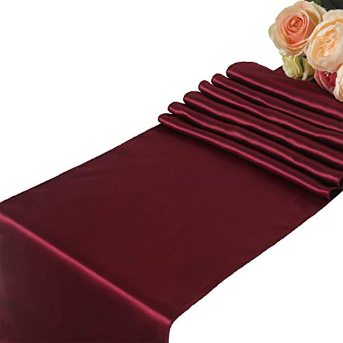 Burgundy Satin Table Runners Wedding Party - 5 pcs Banquet Event Decoration 12