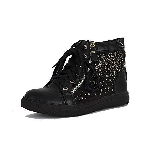 Femmes chaussures de sport hautes avec clou strass - Noir, 3 UK