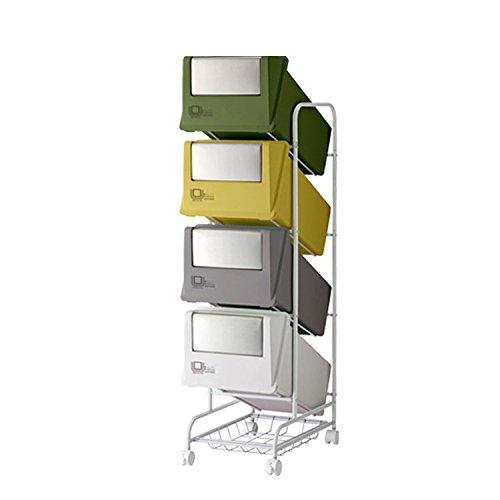 【ゴミ箱 4分別 スリム】機能性 と デザイン に こだわった フラップ式縦型多段分別ストッカー4段 ミックスA(B661-S2) B01ASZZKE2ミックスA
