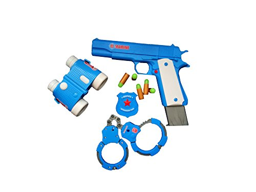 Toy Gun Play Set By Zahar Toys: Classic Colt m1911 Pistol, Binocular Goggles, Soft Fluorescent Bullets And Handcuffs Plastic Policeman Kit And Animal Rings, Tiger And Giraffe, Realistic Replica Gun
