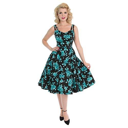 Hearts & Roses Londres Negro Flores Azules Vintage Retro 1950s de Campana Sol Vestido de Tarde
