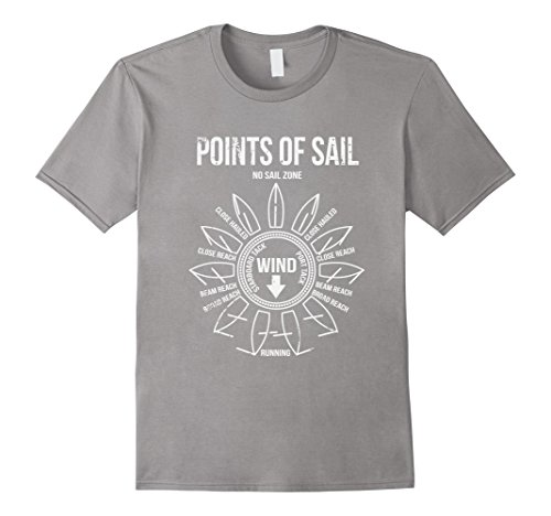 Mens Points Of Sail T Shirt Large Slate