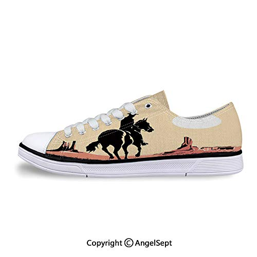 Sneakers for Ladies Riding Horse Towards Sunset in Low Top Canvas Shoes
