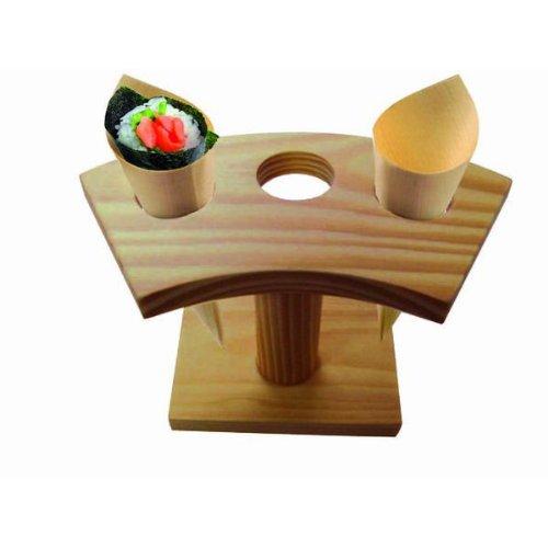 PackNWood 210SBAM3 3 Holes Bamboo Cone and Temaki Display - 6.25 x 3'' H 3.5'' Hole diameter : 0.8'' - 10 per case by PacknWood