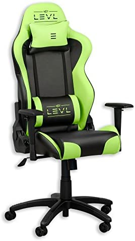 NXT Levl Gaming Chair, Heavy Duty, Neck and Lumbar Cushions Green Black