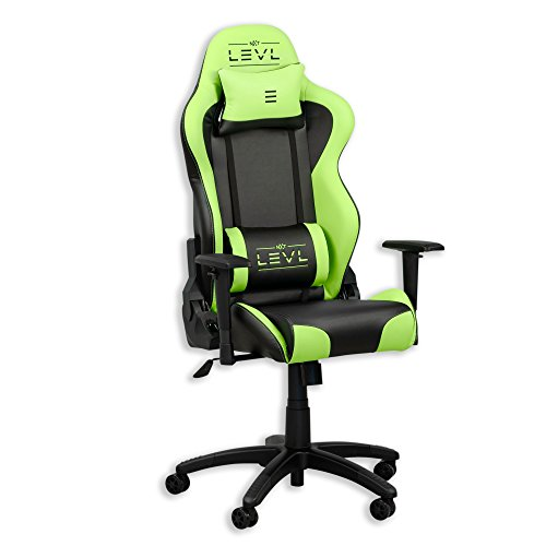 NXT Levl Gaming Chair, Heavy Duty, Neck and Lumbar Cushions Green Black