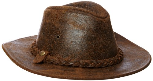 (Henschel Men's Outback Crushable Full Grain Distressed Leather Hat, Rustic, Large)
