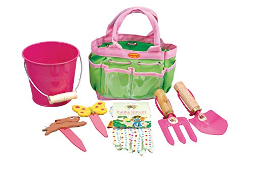 Tierra Garden 7-LP380 Little Pals Kids Junior Garden Kit with Hand Trowel, Hand Fork, Gloves, Plant Markers, and Bucket, Pink by Tierra Garden (Image #3)
