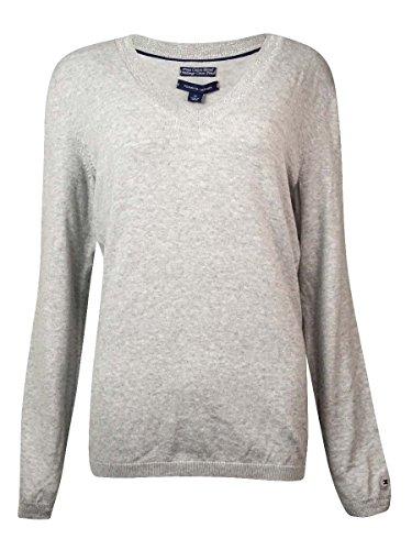 Tommy Hilfiger Women's Metallic-Trim V-Neck Sweater (Medium)