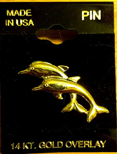 (Popular Enamel Lapel pins - 14k Gold Overlay Dolphin Beach Sea Ocean Lapel Hat Pin Brooch Jewelry New - Fashion Pins and Brooches)