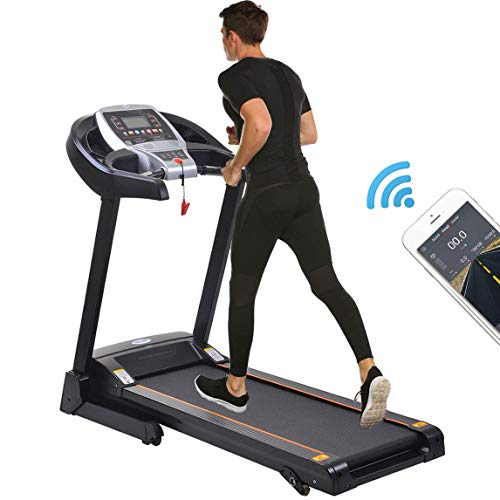 Fitness Folding Electric Motorized Power Jogging Treadmill Smartphone APP Control Walking Running Machine Incline Trainer Equipment (2.25 HP - Black)