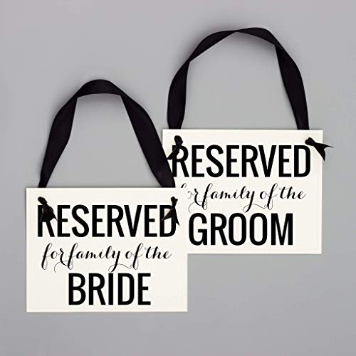 - 2 Reserved Signs Reserved for Family of the Bride & Groom Chair Signs (Set of 2) Black & White Cardstock | Wedding Ceremony or Reception Banners