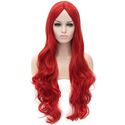 Flovex Women Long Wavy Cosplay Wigs Ladies Sexy Natural Costume Club Party Daily Hair with Wig Cap (Red)