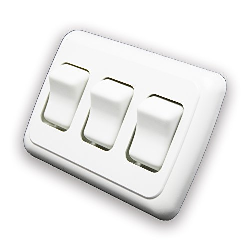 American Technology Components Triple SPST On-Off Switch with Bezel, 12-Volt, for RV, Trailer, Camper ()