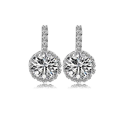 Platinum Pave Diamond Setting - Platinum Plated Cubic Zirconia Pave Setting Halo Drop Earring, Cubic Zirconia Stud Earrings (Platinum Plated 1CT Round Cut)