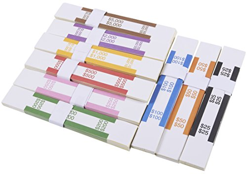Currency Straps – 300-Pack Assorted Bill Wrappers, Money Bands to Organize Bills, ABA Standard Colors, Self-Adhesive, 7.75 x 1.25 Inches (Counter Money)
