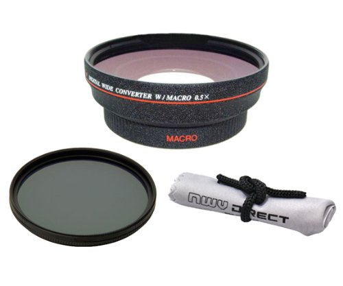 58mm 0.5x Super Wide Angle Lens With Macro (Wider Alternative To Panasonic DMW-LWA52) + Stepping Ring (52-58mm) + 82mm Circular Polarizing Filter + Nwv Direct Micro Fiber Cleaning Cloth by C. Vision