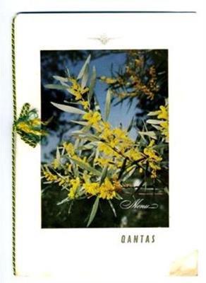 Qantas 1st Class Menu Sydney Golden Wattle Cover 1960 Australia Overseas - Stores Qantas