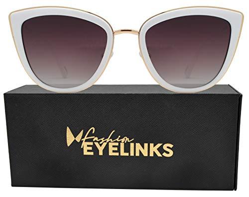 (PZ Polarized - Women Cat Eye Metal Bridge Design Mirror Sunglasses (White + Brown))