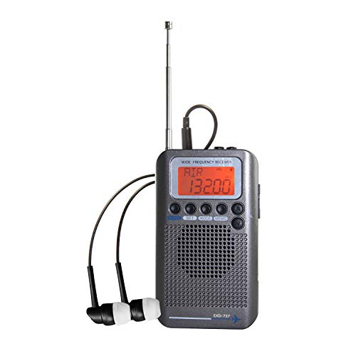 EXMAX Air Band Radio Receiver FM/AM/SW/AIR/CB/VHF NOAA Weather Alert Radio Full Band Hand-held Aircraft Digital Radio Speaker with Extend Antenna for Indoor & Outdoor Activities for Parents - Gray