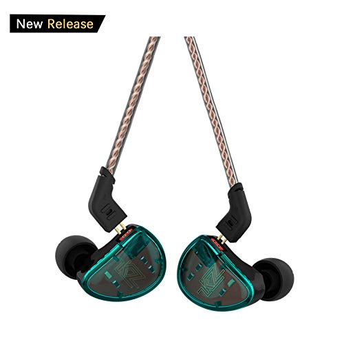 in Ear Headphones, KZ AS10 Five Balanced Aramature Extra Bass Universal-Fit Earphones Compatible with iPhone, Samsung, LG, iPod, iPad, MP3, MP4 (Cyan Without Mic) ()