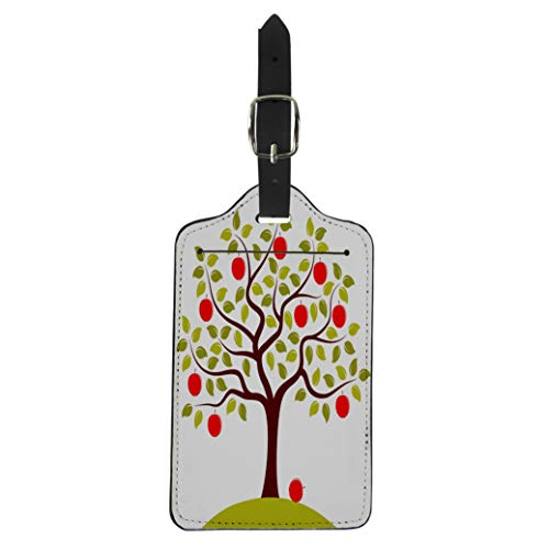 Semtomn Luggage Tag Green Branch Apple Tree Red Agriculture Autumn Farm Foliage Suitcase Baggage Label Travel Tag Labels