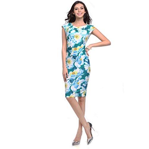 IMJONO 952/5000 Mujeres Impreso Floral Bodycon Trabajo formal Mini vestido de manga corta Mini Verde