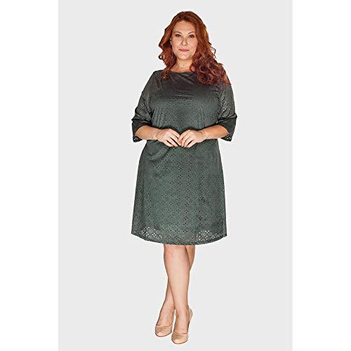 Vestido Suede Plus Size Verde Escuro-52