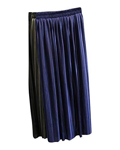 Yonglan Taille Taille Saphir Unie Midi Jupe Femme Couleur Jupe Coupe lastique Brillante Bleu Haute Slim Plisse Jupe rwXZtWqvnw