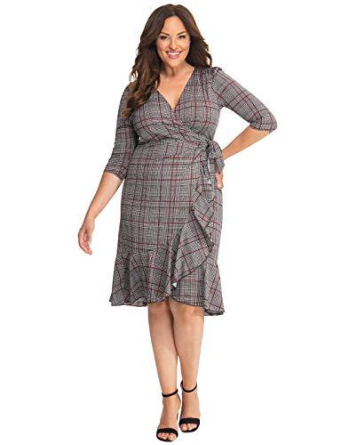 Houndstooth Wrap - Kiyonna Women's Plus Size Flirty Flounce Wrap Dress,Houndstooth Plaid,0X Plus
