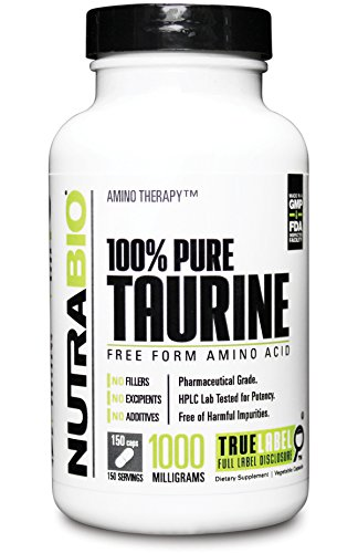NutraBio 100% Pure Taurine (1000 mg) - 150 Vegetable Capsules
