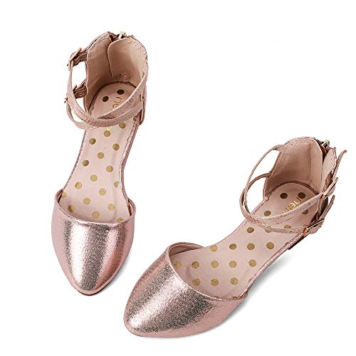 nerteo Girl's Pretty Glitter Ballet Flats Ankle Strap Dress Shoes Sandals (Toddler/Little Kid/Big Kid) Rose Gold 1 M US Little Kid -