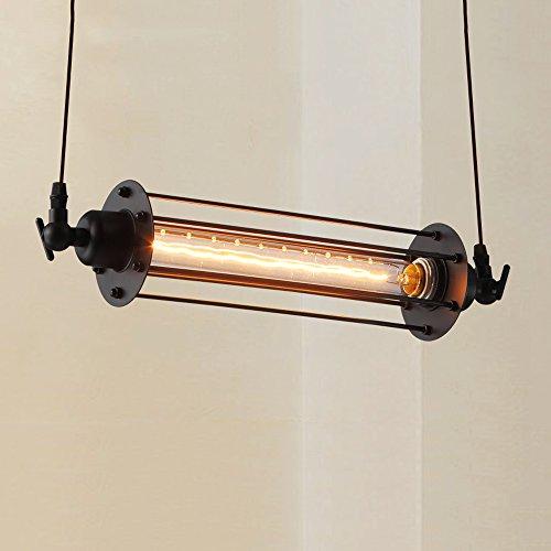 WSHceilingLamp WSH Chandelie - American Retro Pendant Lights, Industrial Creative Restaurant Bar Hanging Lights, European Iron Edison Flute Lamps Pendant Lamps, (Black Iron Flute)