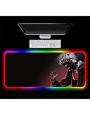 Musmattor Anime Tokyo Ghoul RGB musmatta speltillbehör stor LED spelskrivbord matta PC lekmatta med bakgrundsbelyst bärbar dator, 700 x 300 x 4 mm