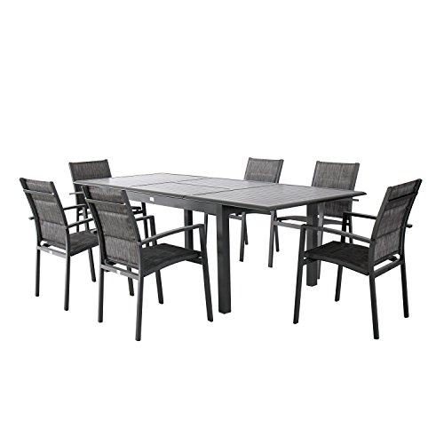 Magari Furniture Aluminum MA678-807 7 Piece Indoor Outdoor Patio Garden Pool Rectangular Dining Table Set, Metal & Black