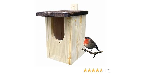 Caja-nido para petirrojo en madera maciza, con barra de fijación: Amazon.es: Productos para mascotas