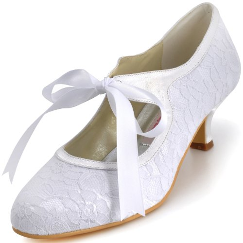ElegantPark A3039-2 Women's Mary Jane Closed Toe Low Heel Pumps Lace Wedding Dress Shoes White US 11 ()