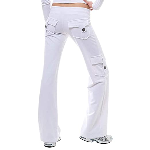Valigrate Mujer Pantalones Yoga Elástico Cintura Botón ...