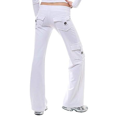 Acreny Mujer Pantalones Yoga Elástico Cintura Botón ...
