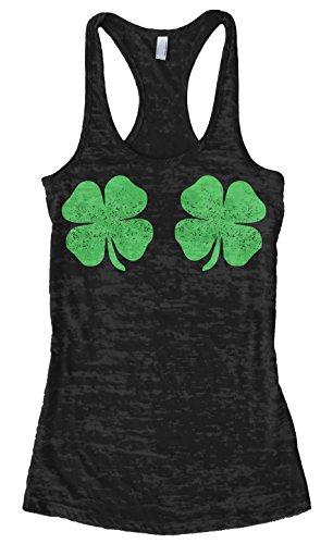 Threadrock Women's Four Leaf Clover Bikini Burnout Racerback Tank Top M Black (Shamrock Tank Top)
