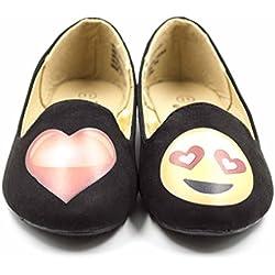 Simply Petals Girl's Emoji Heart Love Smoking Slipper Flats (Big Kid/Little Kid) in Black Size: 12 Little Kid M