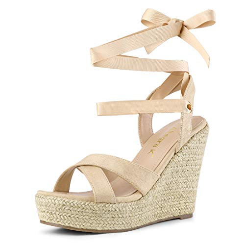 Allegra K Women's Espadrille Platform Lace Up Wedges Beige Sandals - 7.5 M US