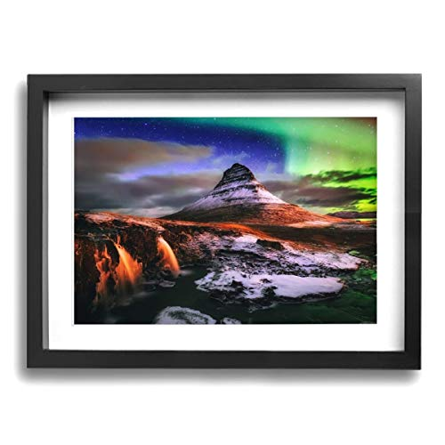 ArtGallery Framed Modern Canvas Wall Art Aurora Mountain, Oil Painting Pictures Decor with Mat Ready to Hang for Home Kitchen Bathroom Office - 12 X 16 Inch -