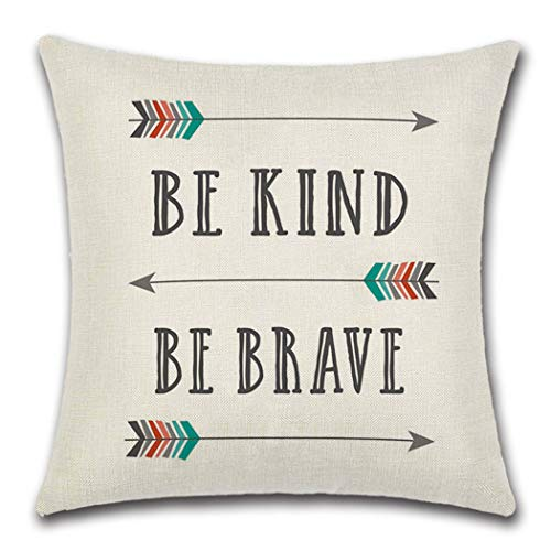 Gysan Home Decorative Quote Words BE Kind BE Brave Throw Pillow Case Cushion Cover for Car Sofa Couch Bed (BE Kind BE Brave, 18